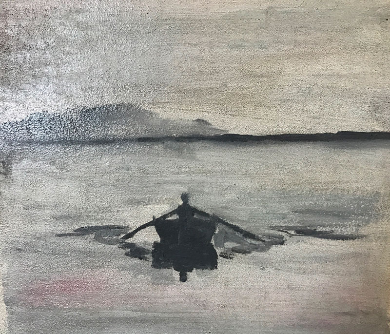 SEASCAPE - HOMEWARD BOUND - 30 x 40cm UNFRAMED - OIL ON BOARD
