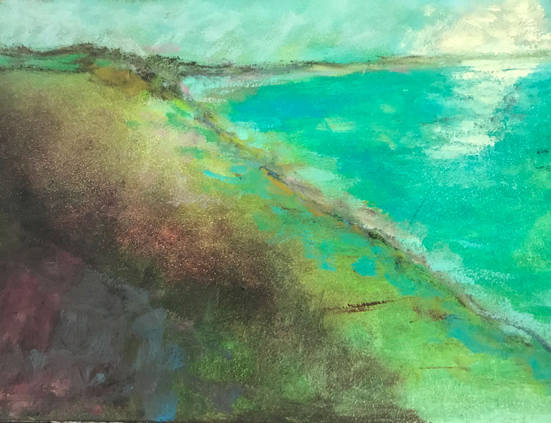 SEASCAPE - SHIMMERY WATERS - 50 x 60cm UNFRAMED - OIL ON BOARD