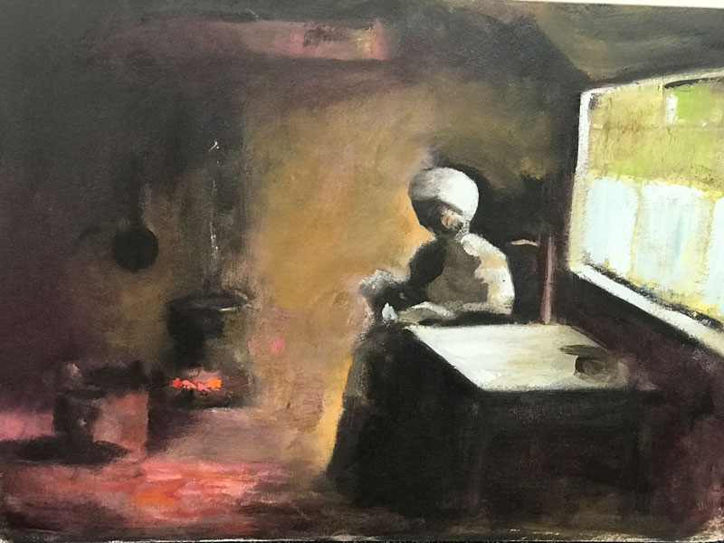 INTERIOR - SITTING BY THE FIRE - 30 x 40cm UNFRAMED - OIL ON CANVAS