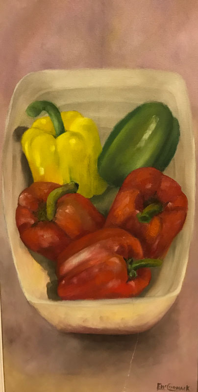 STILL LIFE - A BOWL OF PEPPERS - UNFRAMED - OIL ON CANVAS