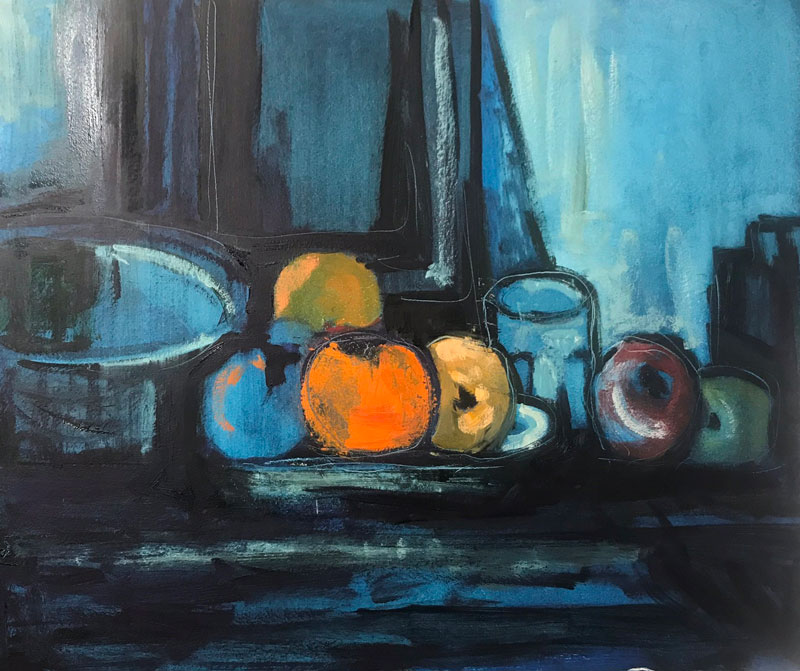 STILL LIFE - BLUE AND ORANGE - AFTER CEZANNE - 50 x 60cm UNFRAMED - OIL ON BOARD