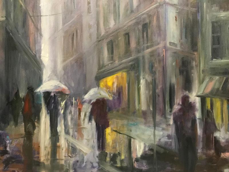 STREETSCAPE - WALKING IN THE RAIN - 50 x 60cm UNFRAMED - OIL ON BOARD