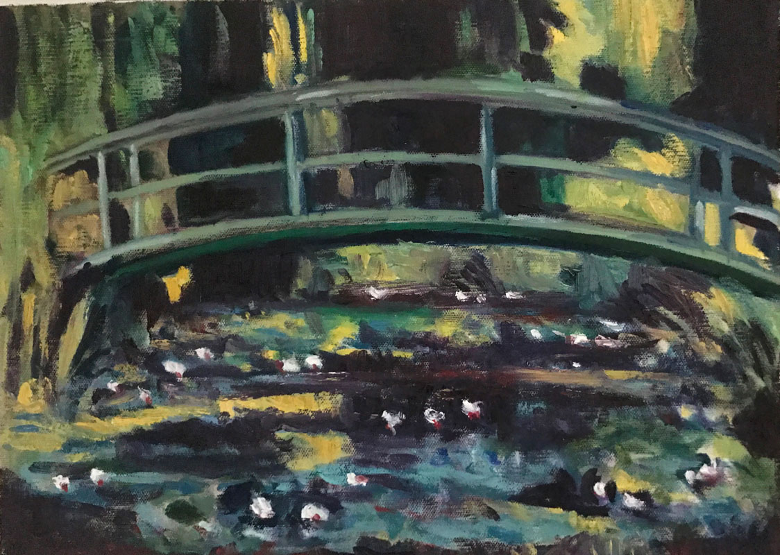 LANDSCAPE - THE LILY GARDEN - AFTER MONET - 30 x 40cm UNFRAMED - OIL ON CANVAS