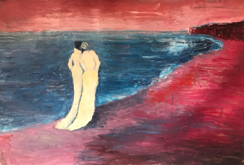 SEASCAPE - THE LOVERS - AFTER KROYER - 100 x 70cm UNFRAMED - OIL ON CANVAS