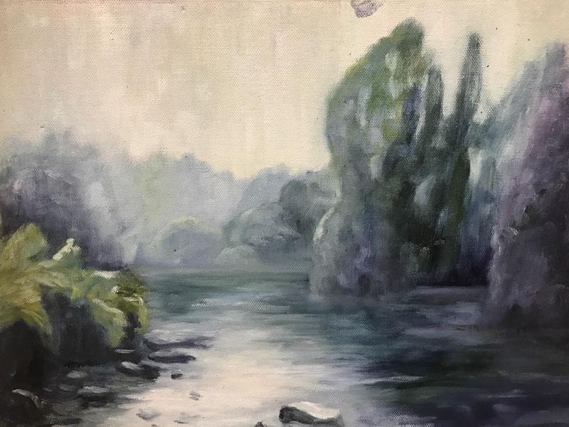 LANDSCAPE - THE RIVER BOYNE IN BLUES - 30 x 40cm UNFRAMED -OIL ON BOARD