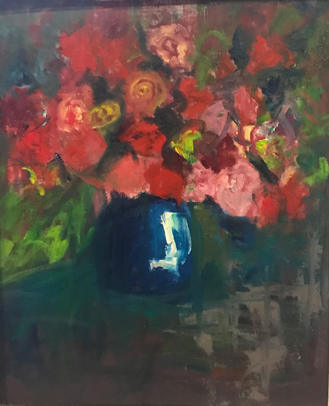 FLORAL - A VASE OF ROSES - 60 x 50cm UNFRAMED - OIL ON CANVAS