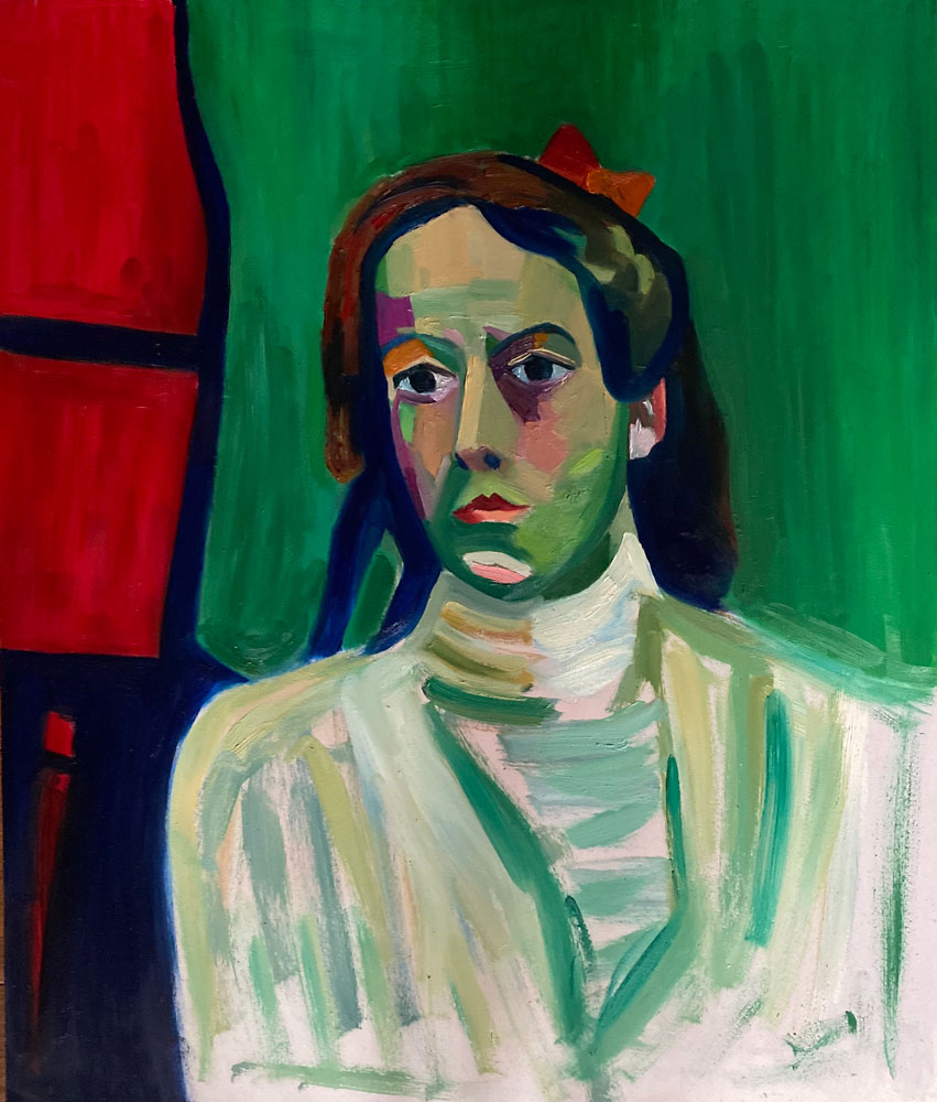 oil painting - figure rendered in greens after munter - 60 x 50cm - oil on board