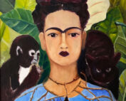 oil painting - figures - frida with the eyebrow - after kahlo - 60 x 50cm - oil on board
