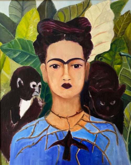 oil painting - figures - frida with the eyebrow - after kahlo - 60 x 50cm - oil on board - by Emily McCormack