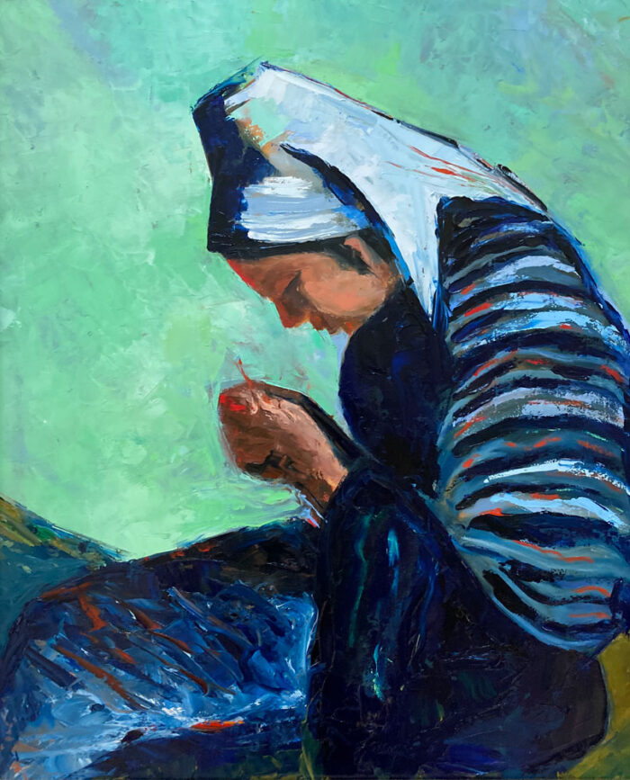 oil painting - ode to the seamstress - after O'Connor 60 x 50cm - oil on board - by Emily McCormack