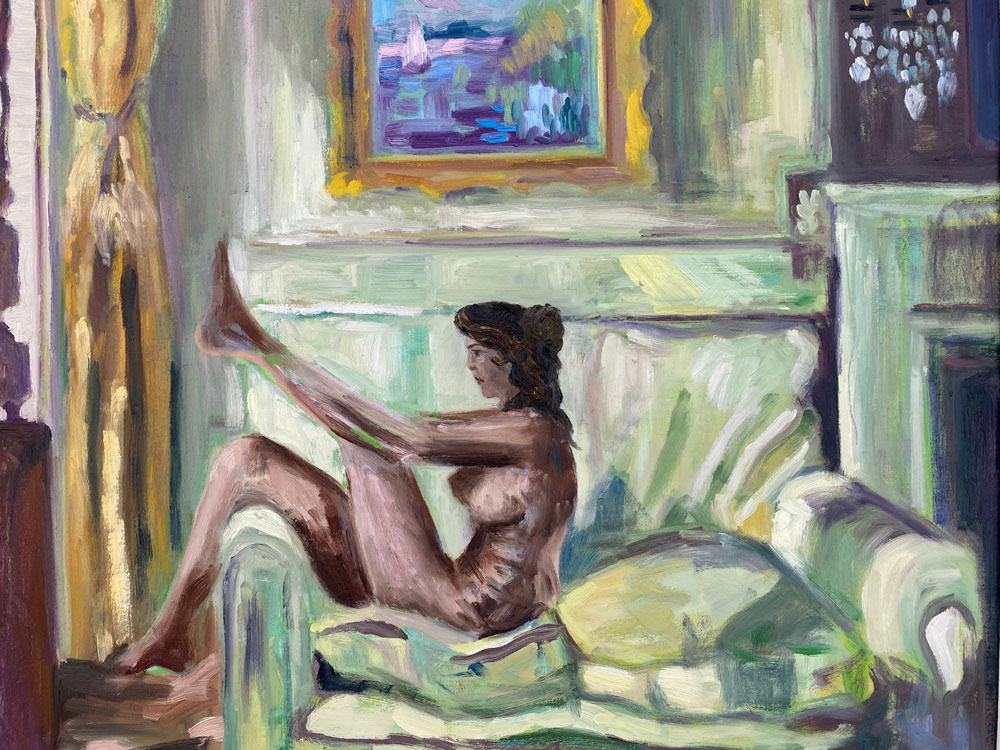 oil painting - figures - sunbathing in the morning glow - after orpen - 50 x 60cm - oil on board
