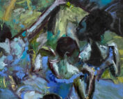 oil painting - figures the dancers in blue after degas - 90 x 90cm - oil on canvas
