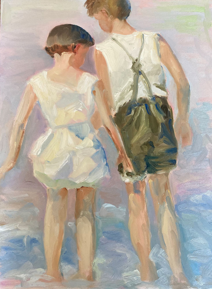 oil painting - figures - when every day was an adventure after potthast - 40 x 30cm - oil on board