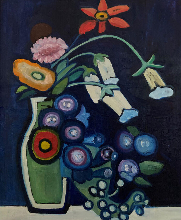 Oil painting - Floral - A posy bulls eye - After Munter - 60 x 50cm - Oil on board