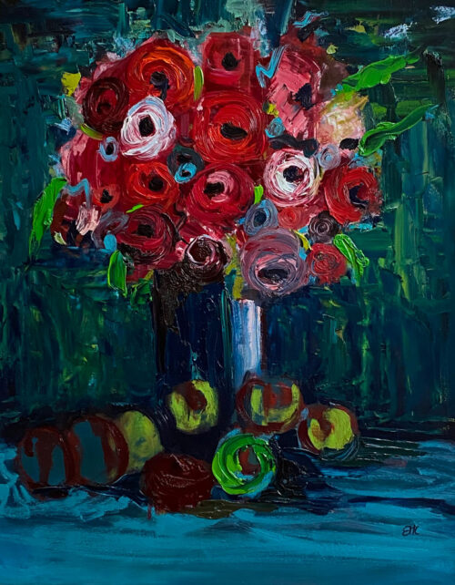 Floral oil painting - Ending the autumn with universal circles of apples and roses - 60 x 50cm - Oil on board - by Emily McCormack