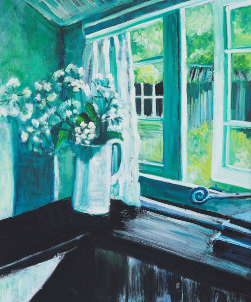 letting the garden in on a spring morning - an oil painting depicting a spring morning - by Emily McCormack