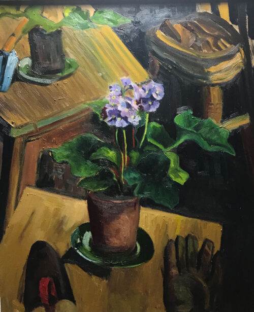 Oil painting - Floral - Potted violas after Leech - 60 x 50cm - Oil on board