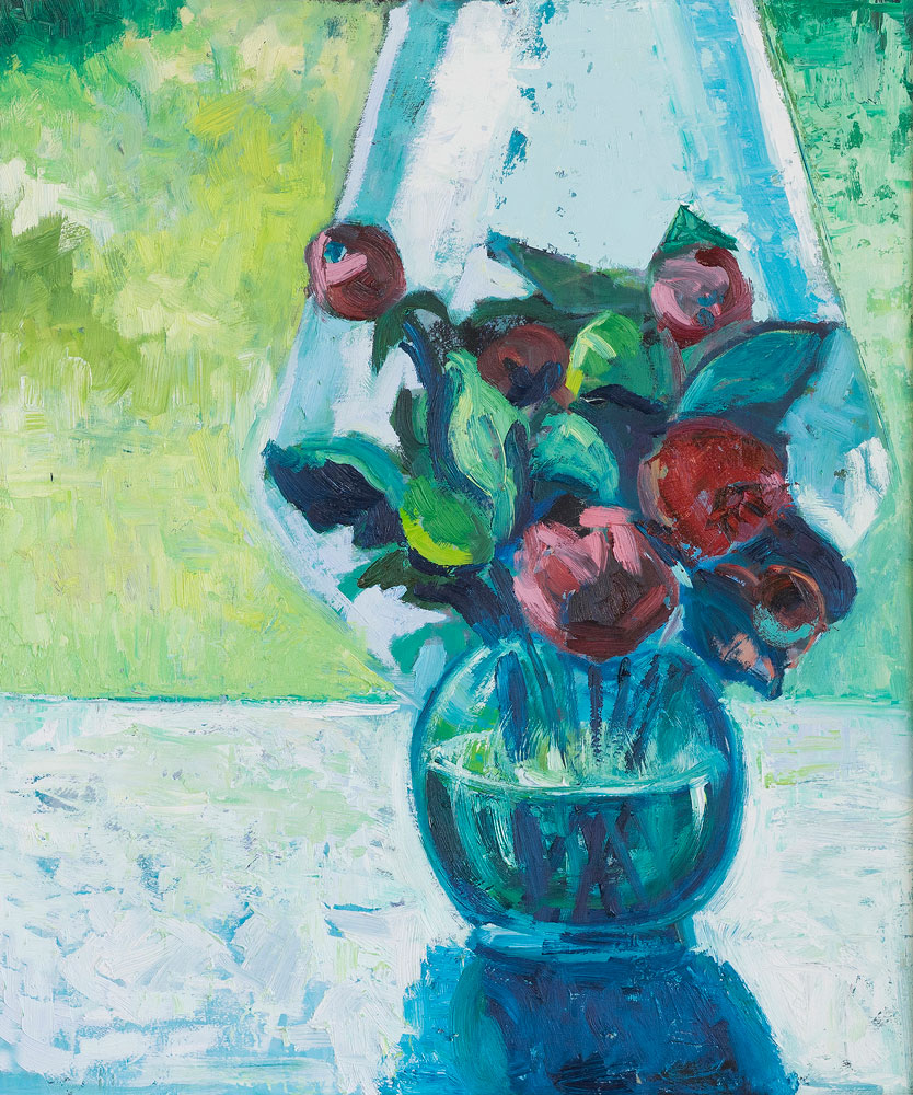 oil painting - floral - summer reflection as the light enters in 60 x 50cm oil on board
