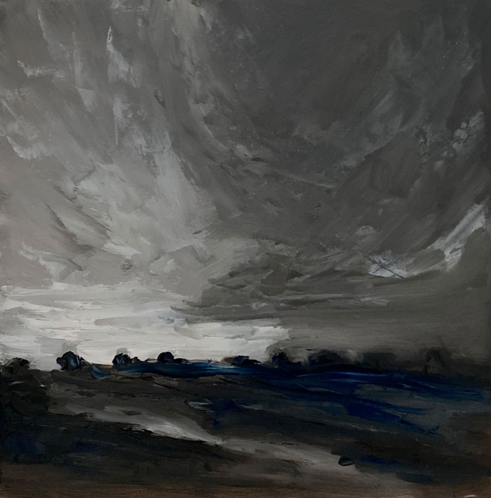 oil painting - landscape - i got the greys and blues - a tiny tonal study - 20 x 20cm - oil on board