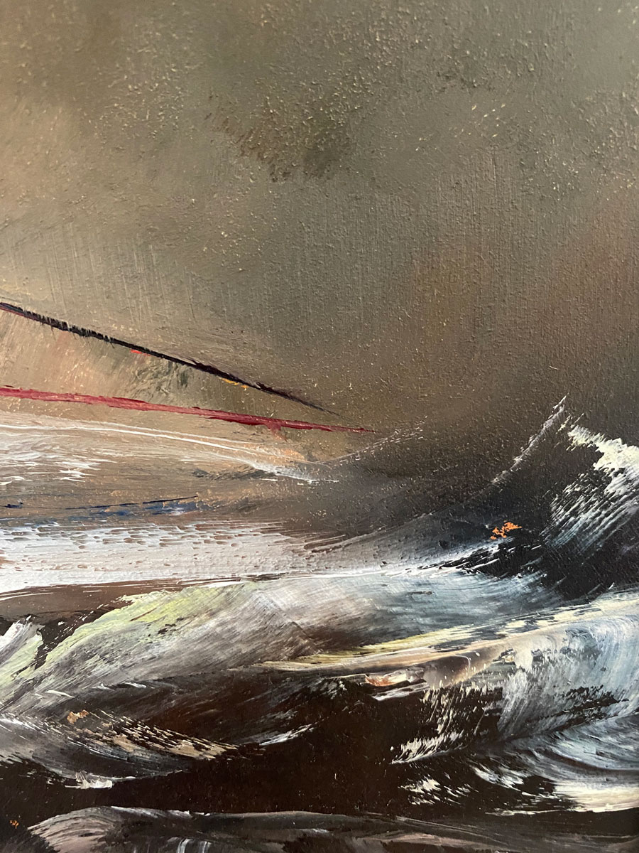 Bank Holiday Dreams - Seascape oil painting close up
