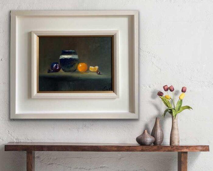 Citrus and Plum - original still life oil painting
