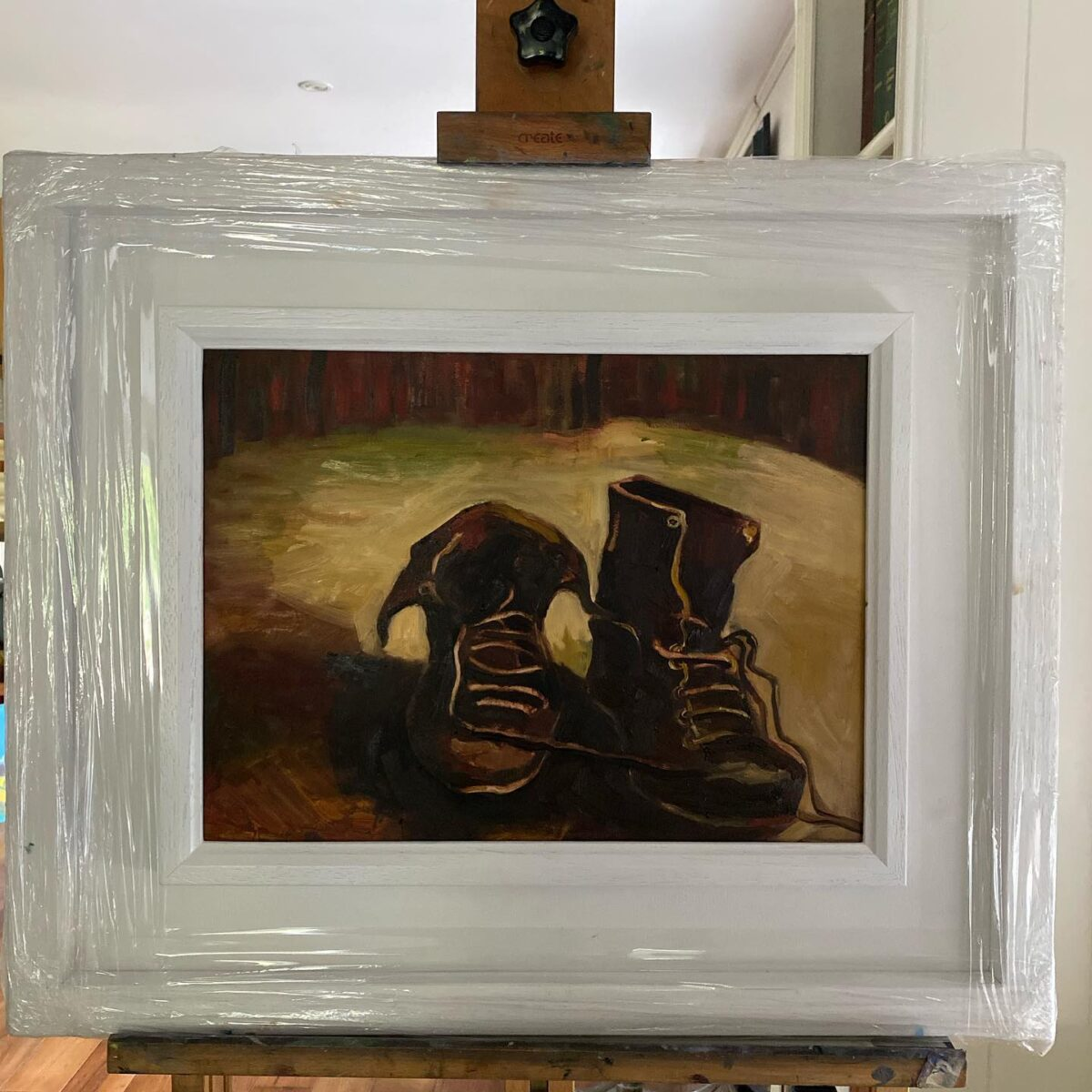 Ah The old Boots Oil Painting in Frame