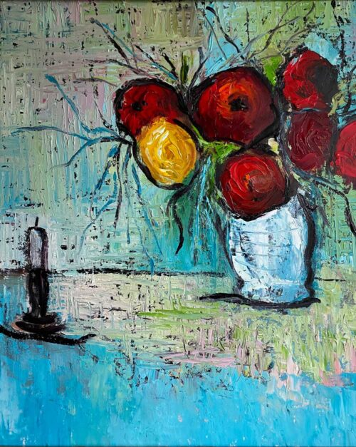 blossoms and candlewick oil painting by Emily McCormack
