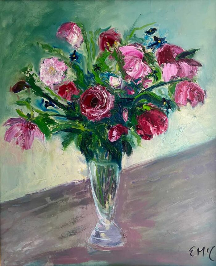 Oil painting - Floral - Just say it with roses, I love you - 60 x 50cm - Oil on board