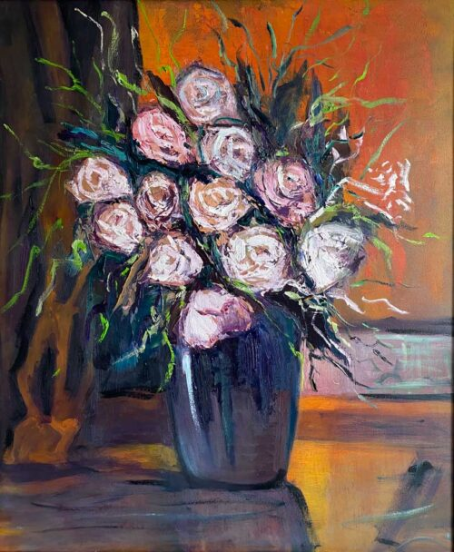 Oil painting entitled MID SUMMER ROSES