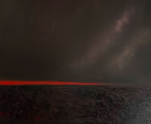 Brilliant red skyline over the bog - oil painting by Emily McCormack