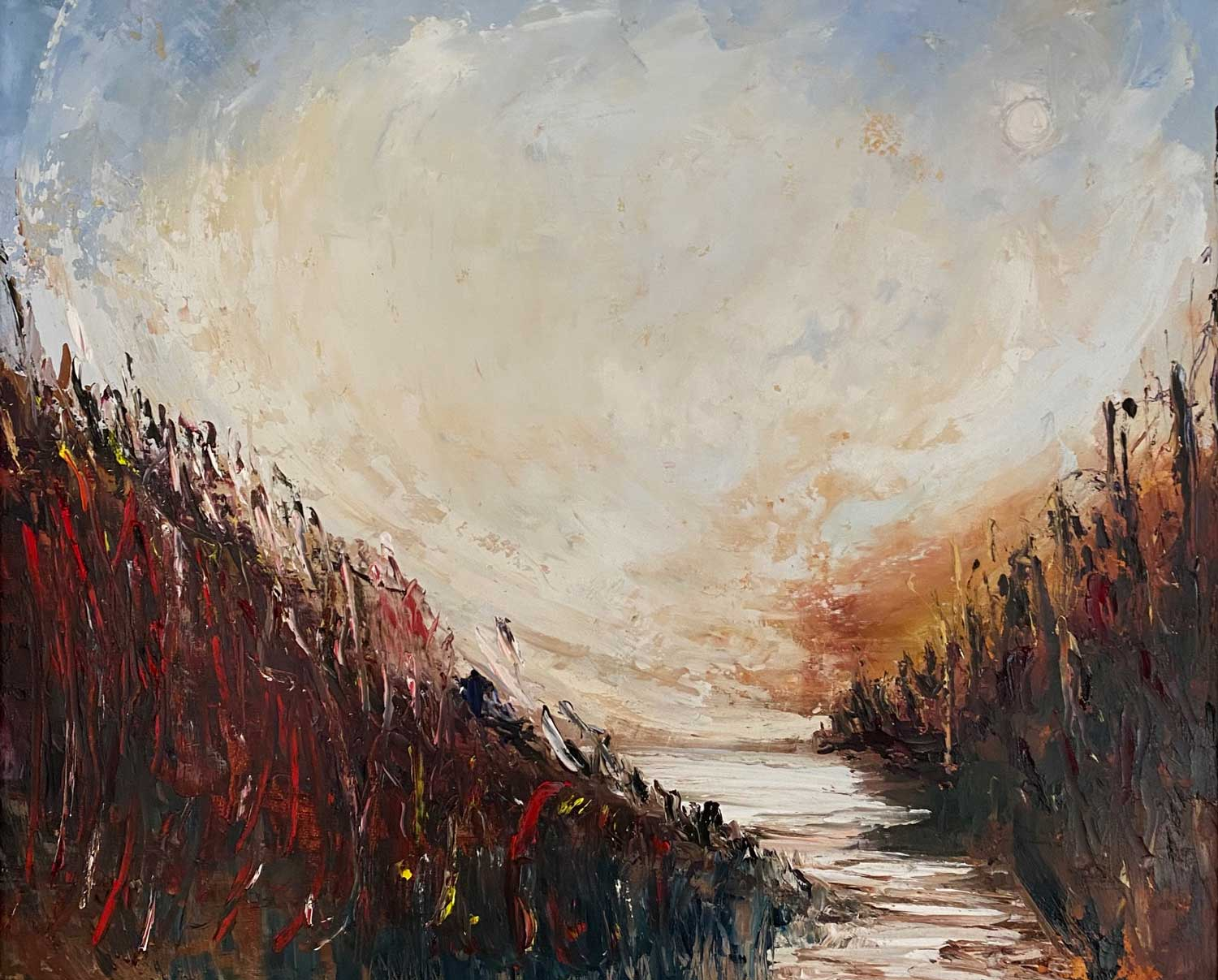 DOWN BY THE REED BED - oil painting