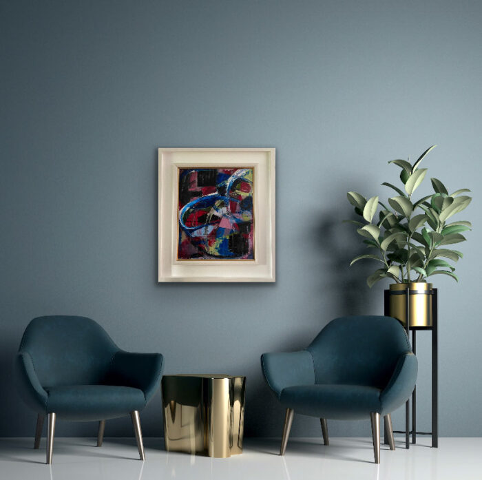 A SWIRAL AND RIOT OF PINKS, BLUES AND BLACKS - Original Abstract Oil Painting