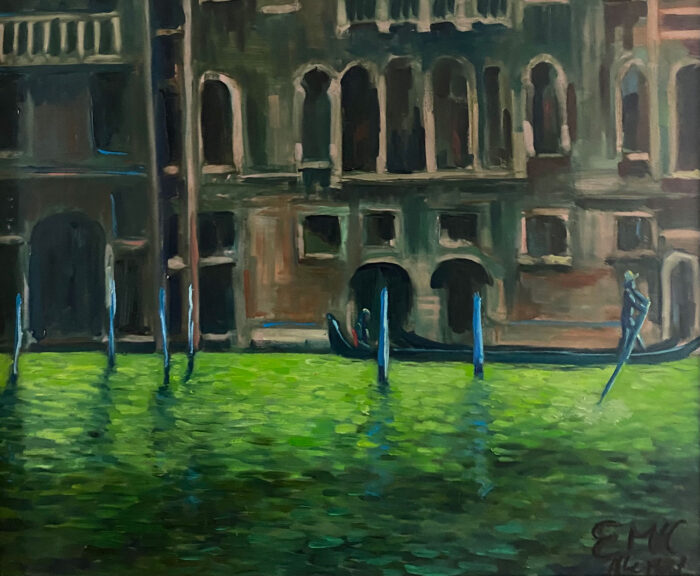 A Tourist in Venice - after Monet - cityscape oil painting by Emily McCormack