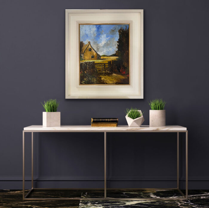 Home By The Cornfields after Constable - landscape oil painting in frame