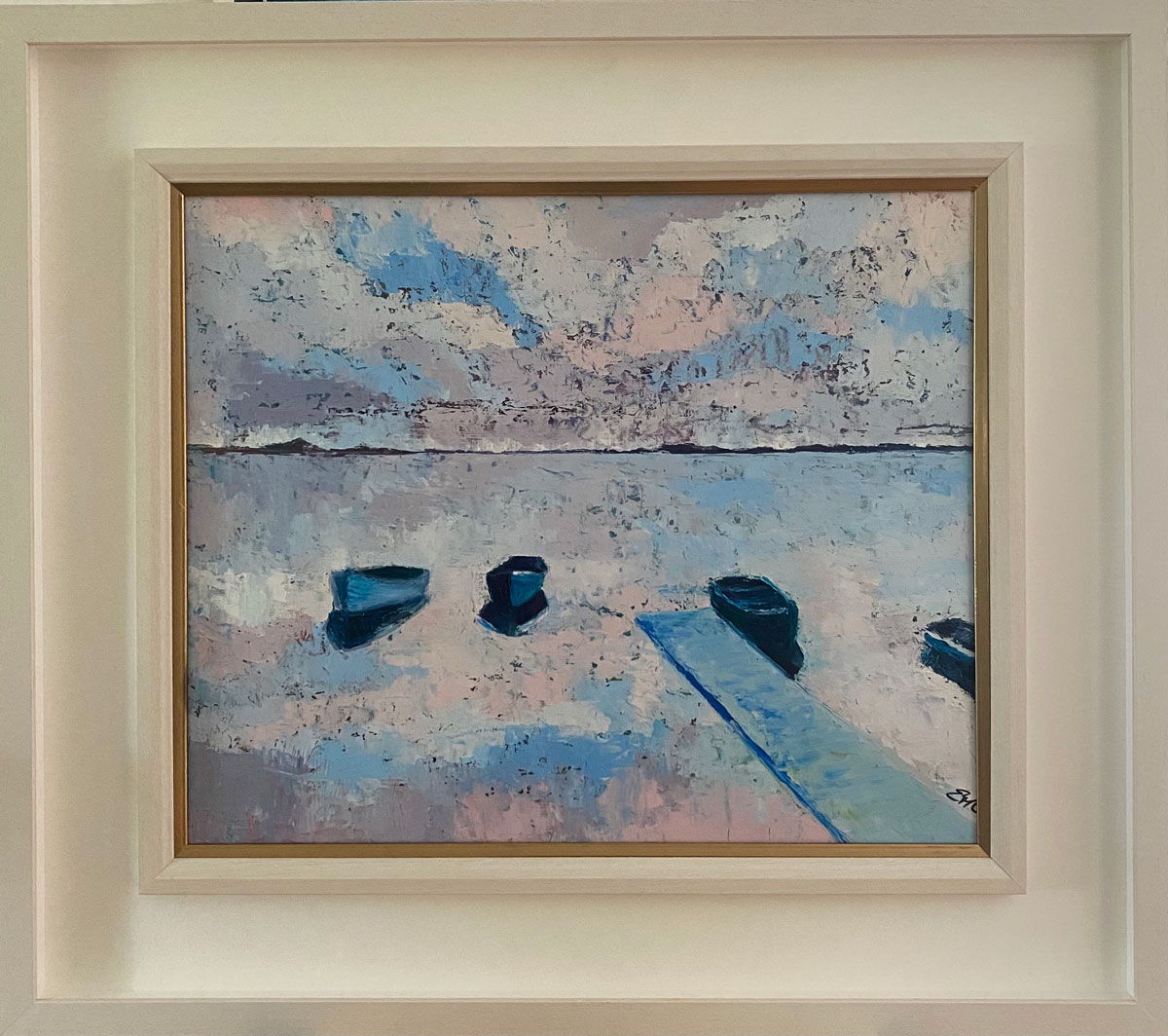 Lough Corrib - Seascape oil painting in a white wood frame