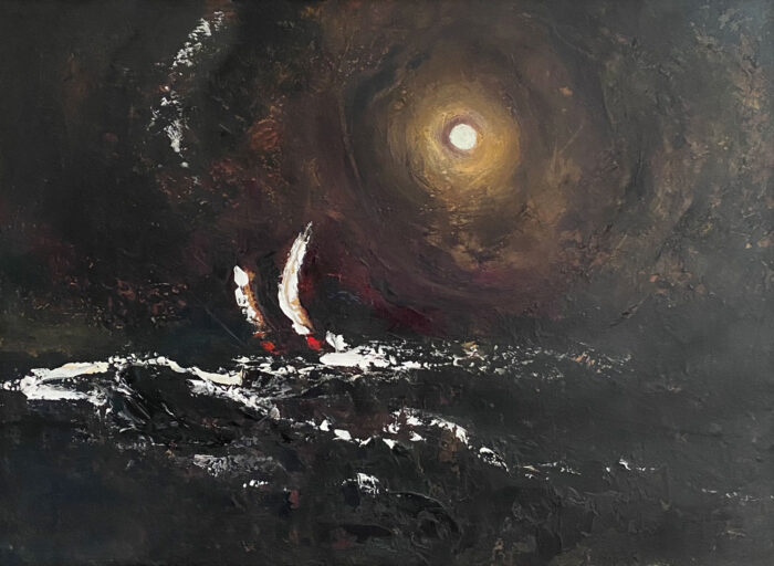 Moonlight on the Whitecapped Waves - original seascape oil painting