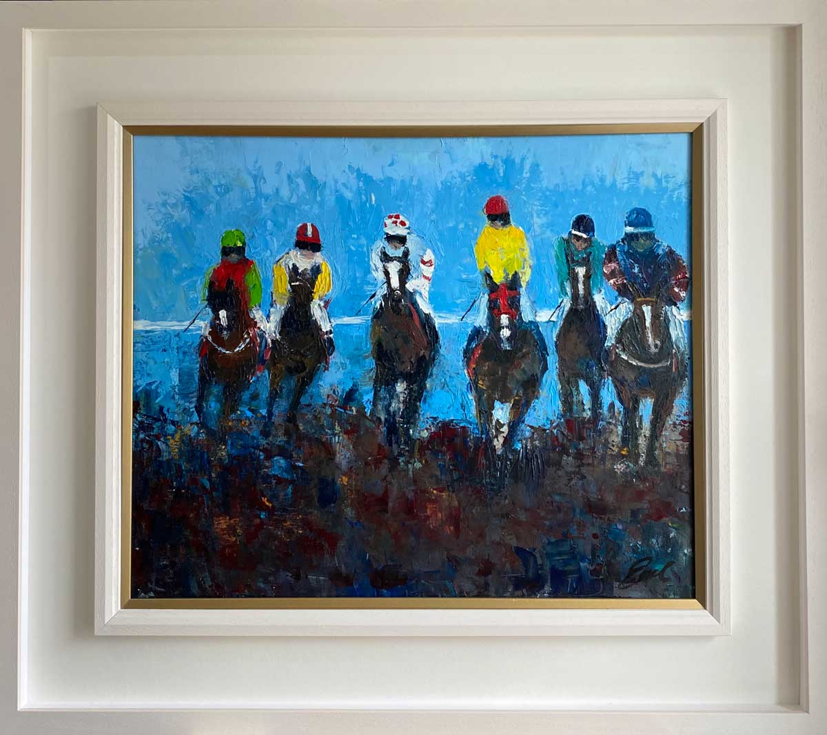Racing To Cross The Line - Horse racing Oil Painting Ireland