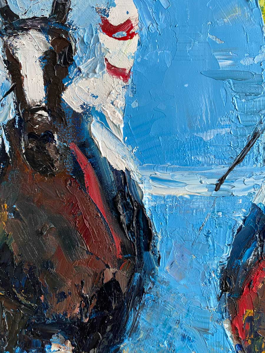 Racing To Cross The Line - Horse racing Oil Painting Close Up