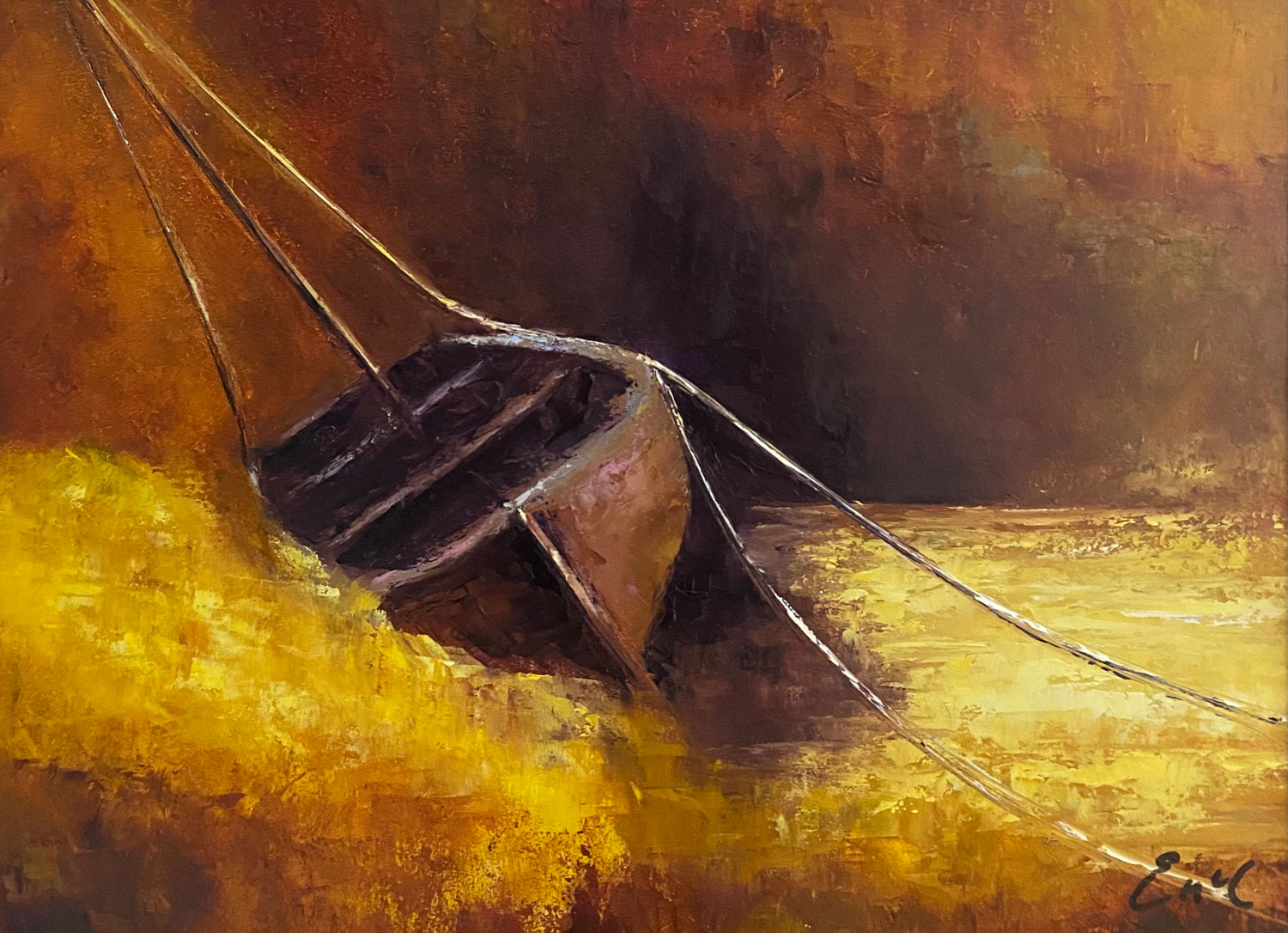 Resting on Golden Shores - Seascape oil painting