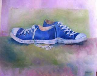 still life painting of trainers