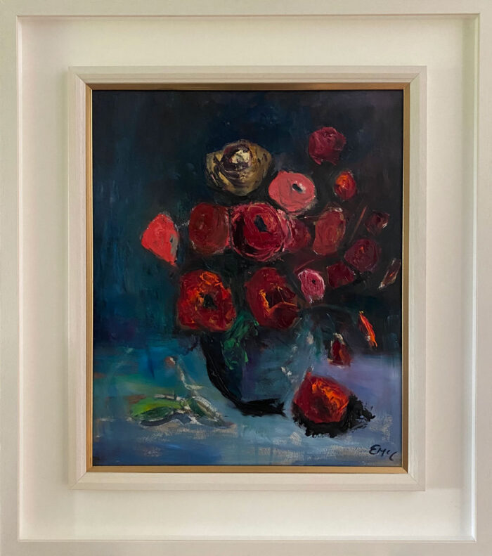 The Last of the Summer Roses - original floral oil painting