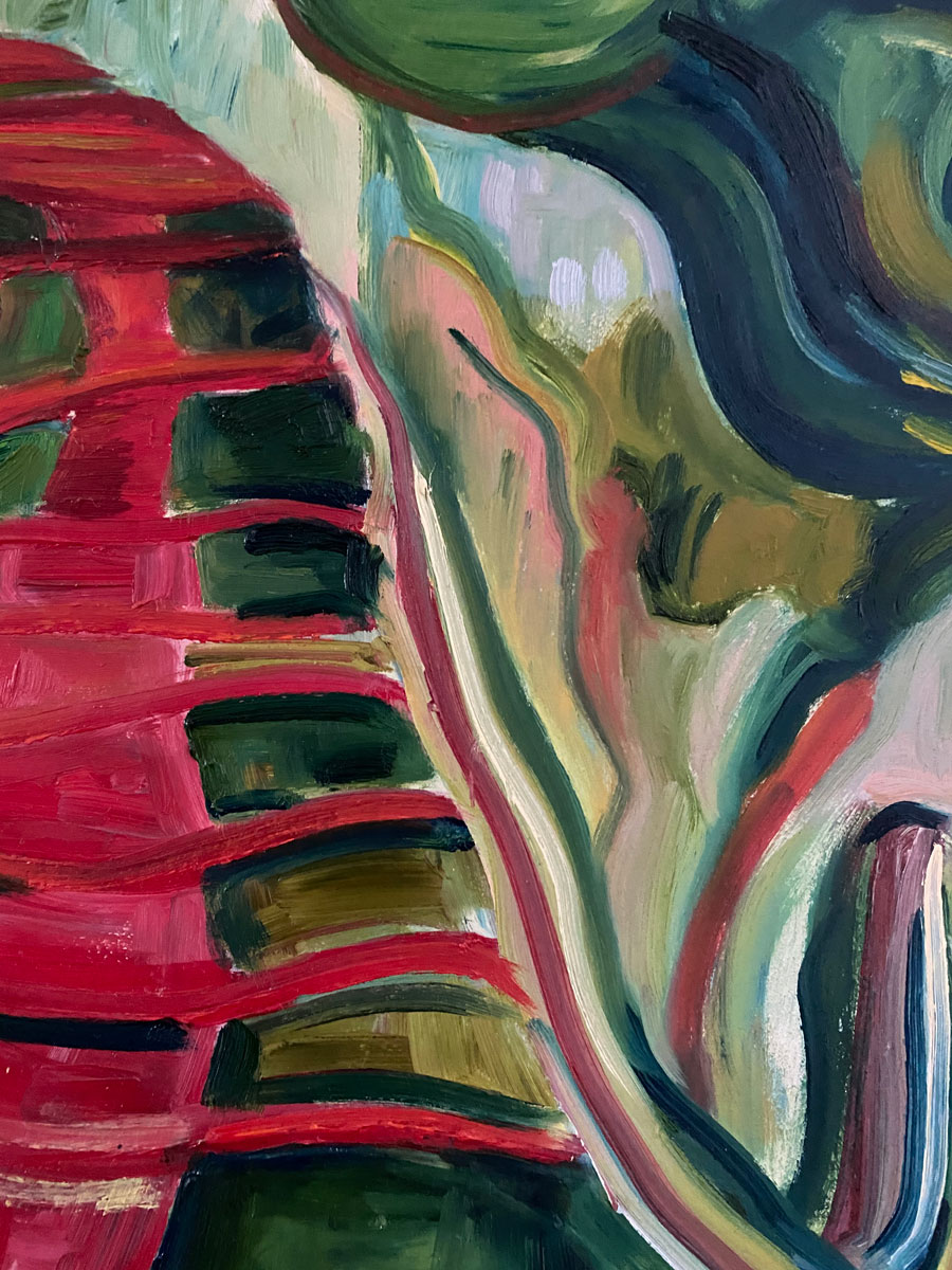 The Red Path - after Soutine - Cityscape oil painting