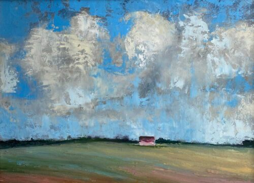 THE RED SHED BENEATH THE ROLLING CLOUDS by Irish artist Emily McCormack