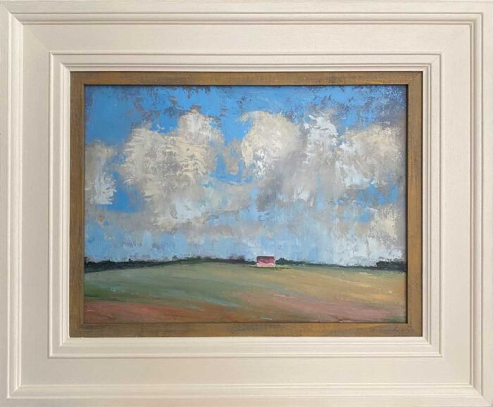 THE RED SHED BENEATH THE ROLLING CLOUDS - oil painting