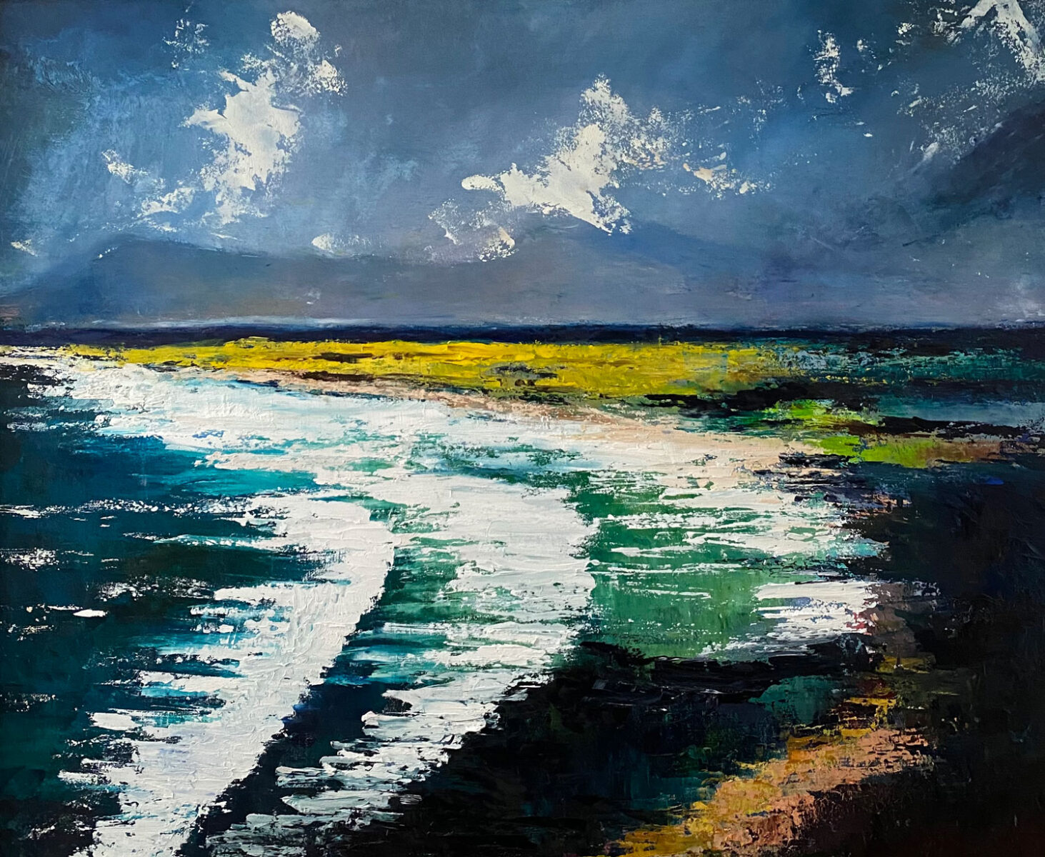 The waves danced across the Rossbeigh shores - Landscape oil painting