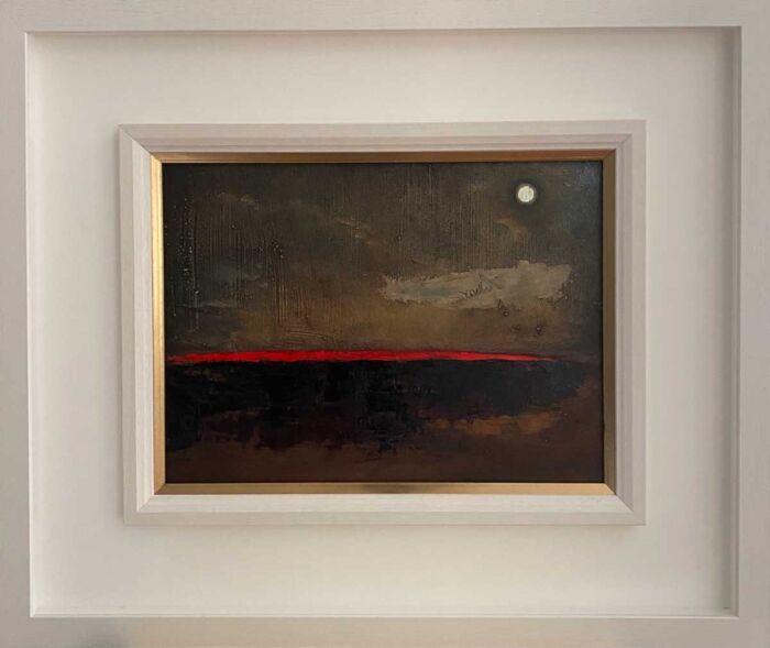 Brilliant Red Horizon Over The Bog - No3 - original Landscape Oil Painting