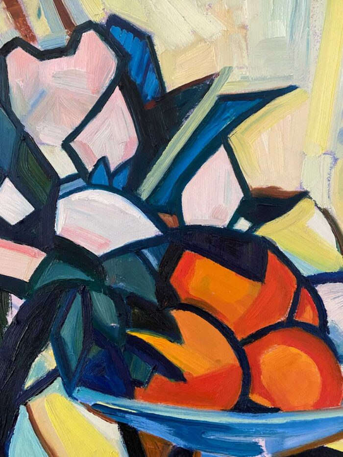 Flower Pot and Oranges - after Peploe - oil on board
