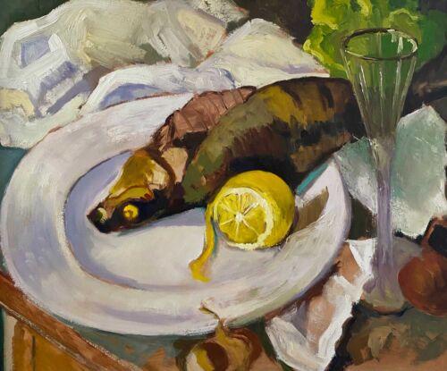 Still life of fish and lemons - after Serebriakova - oil painting