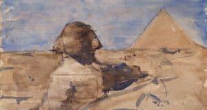 The Sphinx Half in Shadow and Chephren Pyramid, Giza, Egypt