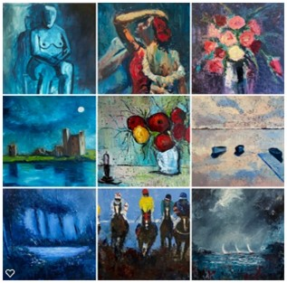 examples of my work using the colour blue